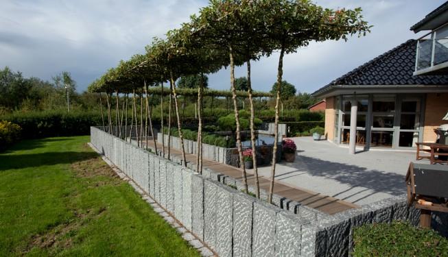 Gårdhave I ribe udført efter haveplan / havetegning udarbejdet af Havearkitekt Arne Thomsen. Som ramme om gårdhaven er plantet 3 stammede paradisæbletræer klippet som tagespalier. Materialer er bla. lodretstående granitkantsten G399 stokhuggede. Teaktræs gangbro